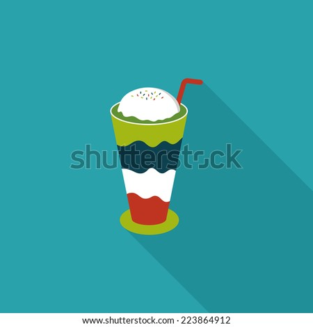iced floating coffee flat icon with long shadow,eps10 - stock vector