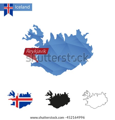 Iceland blue Low Poly map with capital Reykjavik, versions with flag, black and outline. Vector Illustration. - stock vector