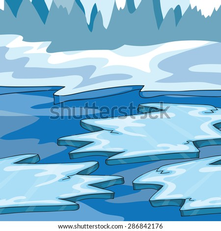 Iceland - Cartoon Vector Illustration - ice floes in the ocean - stock vector