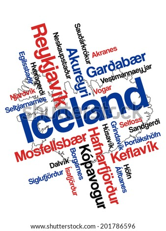 Iceland map and words cloud with larger cities - stock vector