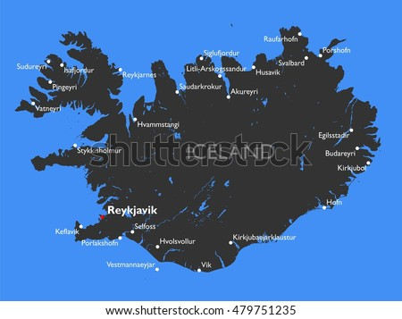 Iceland Map Vector Detailed Color Iceland Stock Vector 479751235 ...