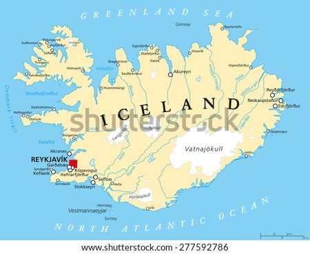 Iceland map stock images royalty free images vectors shutterstock iceland political map with capital reykjavik national borders important cities rivers lakes gumiabroncs Images