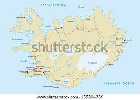 iceland road map - stock vector