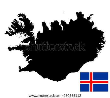 Iceland vector map isolated on white background silhouette. High detailed illustration. National flag of Iceland with correct proportions and color scheme (raster illustration) - stock vector