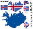 Iceland vector set. Detailed country shape with region borders, flags and icons isolated on white background. - stock vector