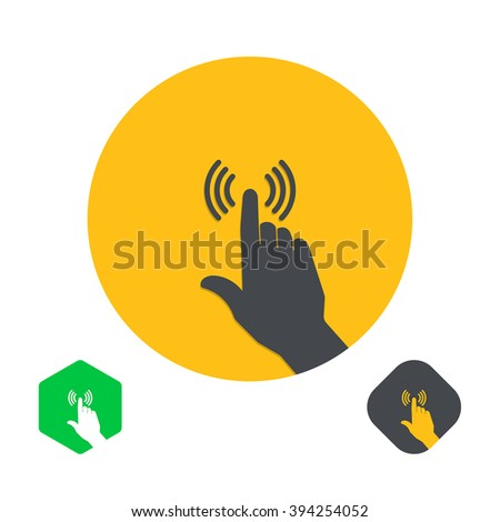 Icon a hand finger on the touch screen. A vector illustration in flat style. - stock vector