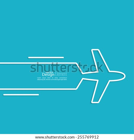 Icon airplane and banner for text. Outline. minimal. - stock vector