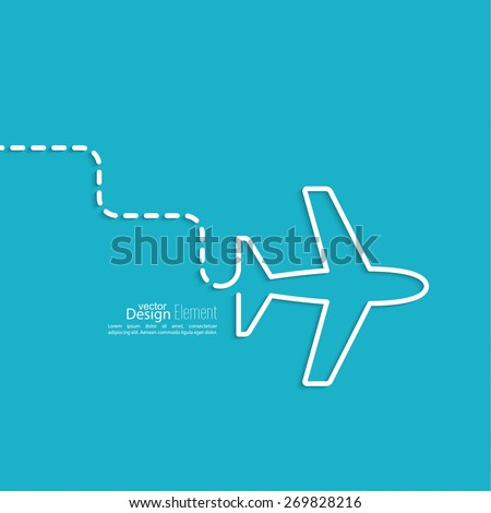Icon airplane. the dashed line represents the movement and the way. speed airlines.  Outline. minimal. - stock vector