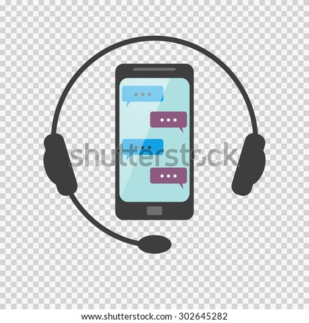 Icon answers to questions on the network by phone call or via SMS. non-stop service. customer service - stock vector
