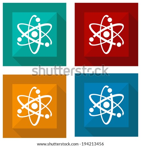 icon atomic with shadow different colors. Vector illustrations - stock vector