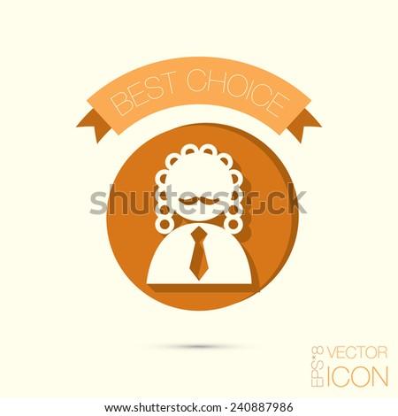 icon avatar judge. symbol of justice - stock vector