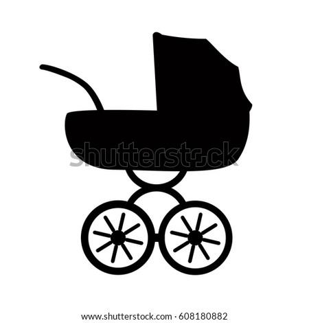 icon baby stroller flat stroller icon symbol stroller vector illustration