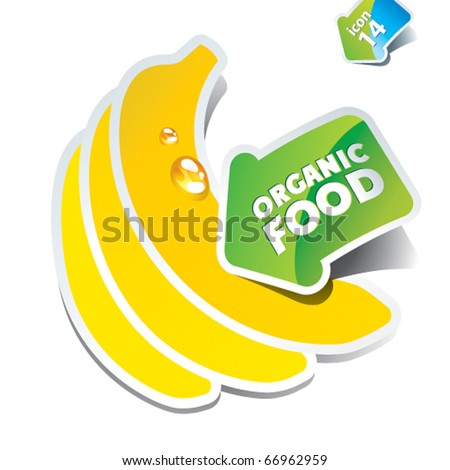 Icon bananas with an arrow by organic food. Vector illustration. - stock vector