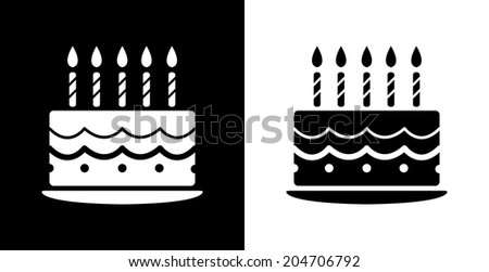 icon, black and white cake vector - stock vector