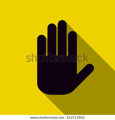 Icon black hand on a yellow background - stock vector