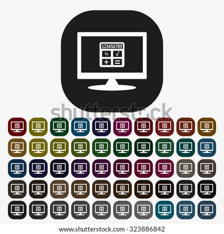icon calculator. icon. vector design, set of colored buttons - stock vector