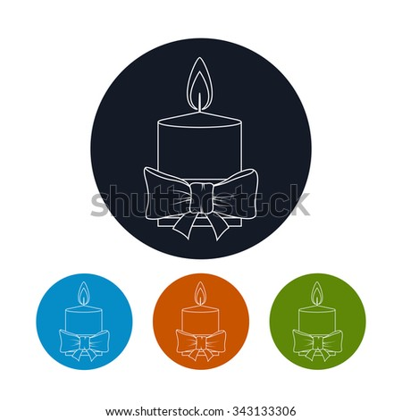 Icon Christmas Festive Candle ,Four Types of Colorful Round Icons Candle Decorated with Bow, Icon Christmas Decorations, Icon in Linear Style  ,Vector Illustration - stock vector