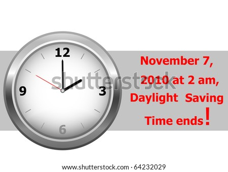 icon clock. daylight saving time ends sunday, november 7, 2010 at 2 am. vector. - stock vector