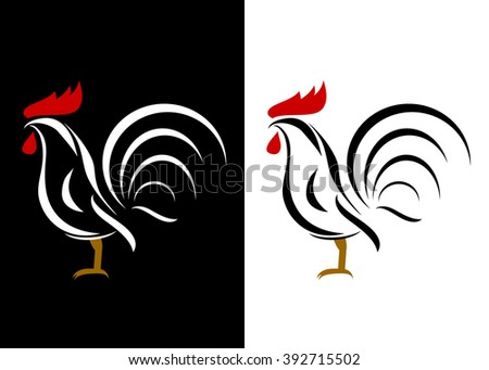 icon  cock. Couple of roosters on a black and white background - stock vector