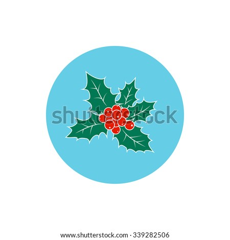Icon Colorful Christmas Holly  Berry,Round Icon Christmas Holly, Icon of  Christmas Decorations, Merry Christmas and Happy New Year ,  Vector Illustration - stock vector