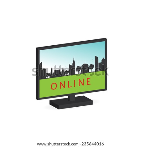 icon. Computer screen, image of the city and word  - stock vector