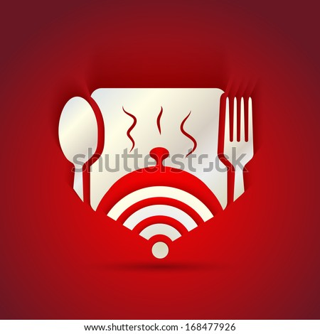 icon concept for restaurant menu and free WiFi zone - stock vector