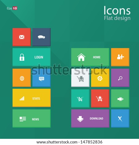 Icon concepts in metro style. Editable vector format.