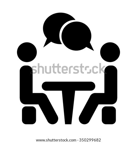 Icon Conference. People sitting around the table talking. - stock vector
