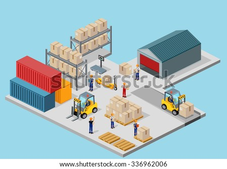 Icon 3d isometric process of the warehouse. Warehouse interior, logisti and factory, warehouse building, warehouse exterior, business delivery, storage cargo illustration - stock vector