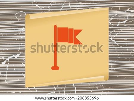 icon design style on a background of the old board and scroll - stock vector