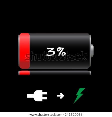 Icon discharged battery - stock vector