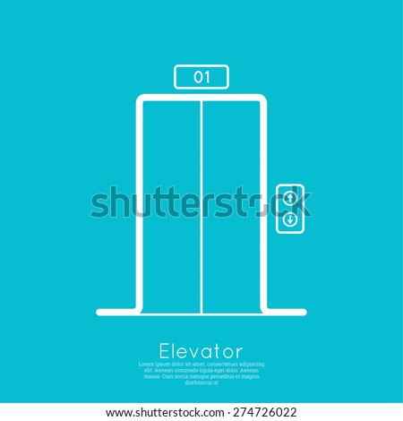 Icon elevator with closed doors. vector. minimal, outline. - stock vector