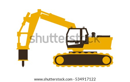 Icon excavator with his hammer. Construction machinery. Vector illustration. Flat style.