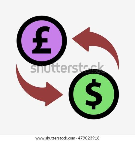 Icon Exchange Pounds Dollars Pound Dollar Stock Vector 479023918
