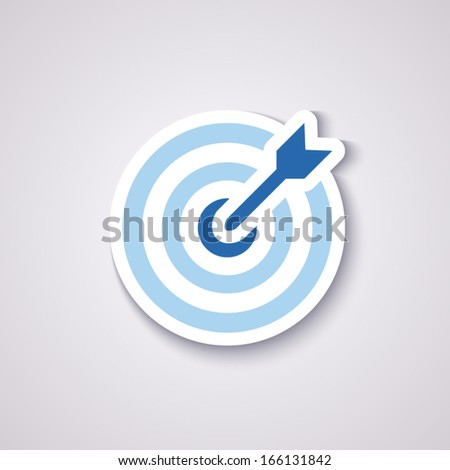 icon flat target with dart in blue, isolated, shaded - stock vector
