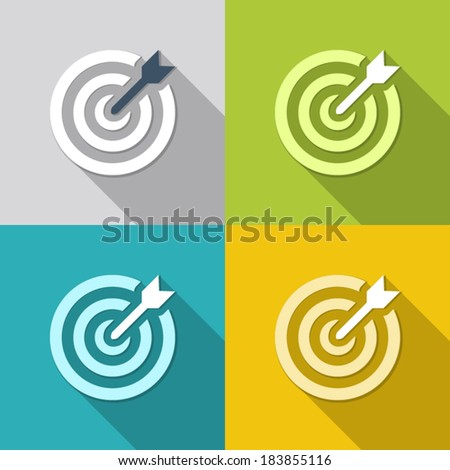 icon flat target with dart in four colors, isolated, shaded - stock vector