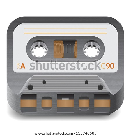 Icon for audio cassette. White background. Vector saved as eps-10, file contains objects with transparency.
