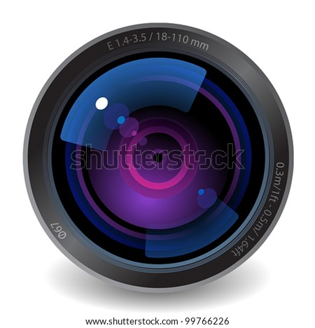 Icon for camera lens. White background. Vector saved as eps-10, file contains objects with transparency. - stock vector