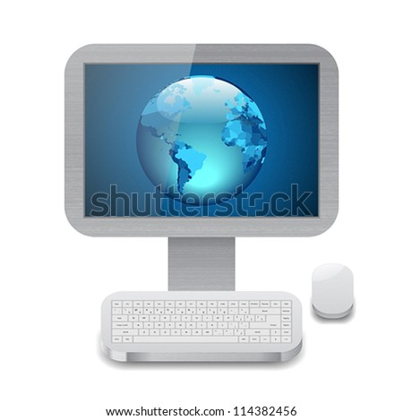 Icon for personal computer with blue Earth on display. White background. Vector saved as eps-10, file contains objects with transparency. - stock vector
