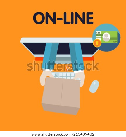 Icon for website and mobile application. Flat design. Vector. Editable. Business on-line shopping. - stock vector