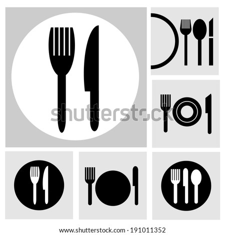 Icon Fork and spoon - stock vector