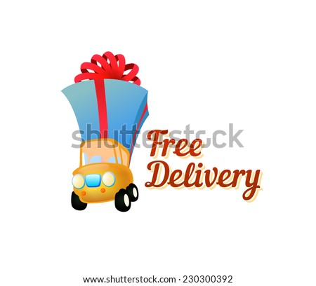 Icon Free Delivery - Illustration in Funny style - stock vector