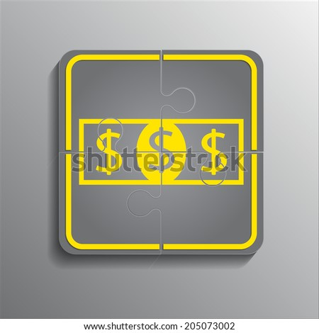 icon from puzzles dollar - stock vector
