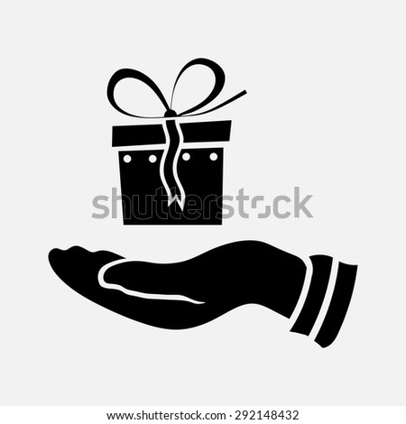 icon gift in hand, gift box, element for design, holiday, fully edit vector image - stock vector