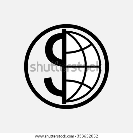 icon global currency, money, globe, planet, logo, fully editable vector image - stock vector