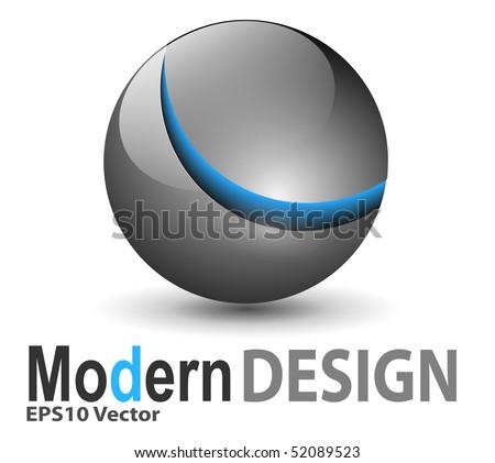 Icon, glossy metallic sphere, abstract symbol. - stock vector