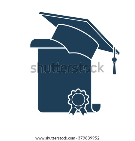 Icon graduation cap and diploma. Vector illustration. Black icon on white background. - stock vector
