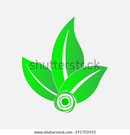 icon green leaves ecology, save the planet, ecology logo icon preserved nature, bio products, fully editable vector image - stock vector