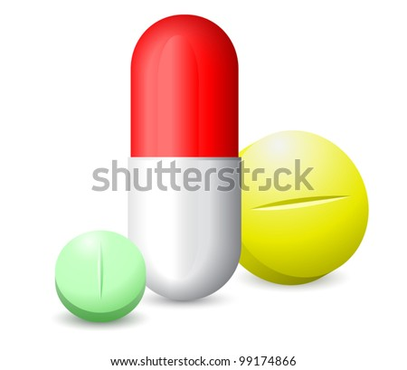 icon green, red white and yellow tablets - stock vector
