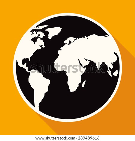 Icon Hand drawn earth on white circle with a long shadow - stock vector